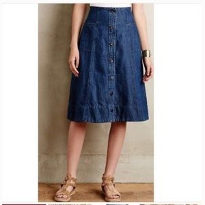 Holding Horses Denim button front Jean Skirt 8